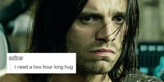 Bucky + text post. | yes. yes you do. Bucky Barnes needs a two-hour long hug, hot cocoa, a fluffy blanket, and his plums.