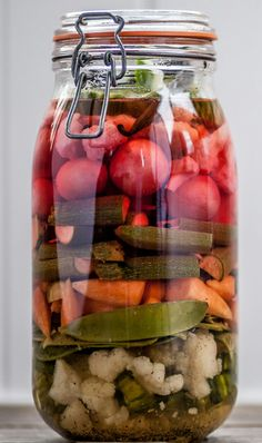 This pickled vegetables recipe won't pay immediate dividends as the vegetables need to sit in the pickling liquid for a month before they are used. When they are ready to use, they make great accompaniments to meat and fish.