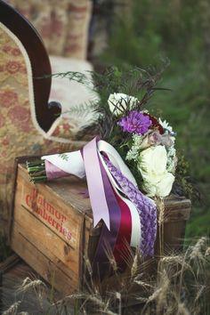 wedding bouquet with grandma's keepsake handkerchief http://www.weddingchicks.com/2013/10/01/plum-and-gold-wedding/