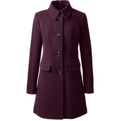 Lands' End Women's Petite Wool Car Coat ($130) ❤ liked on Polyvore featuring outerwear, coats, jackets, red, wool car coat, wool coat, fancy coat, shiny coat and purple wool coat