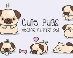 Premium Vector Clipart Kawaii Pugs Cute by LookLookPrettyPaper Cute Animal Drawings, Cute Drawings, Vector Clipart, Vector Art, Vectors, Panda Mignon, Kawaii Pig, Art Noir, Cute Bee