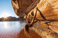 """Lisa Hathaway bouldering over the Colorado in Moab. I guess it's not """"Deep Water"""" but we'll stick it here anyway..."""