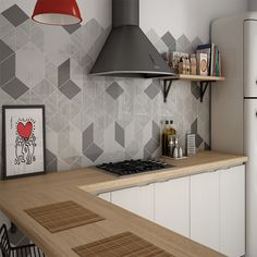 Creative Geometrics Tiles used as splashback tiles in a kitchen to create a trendy decorative look.