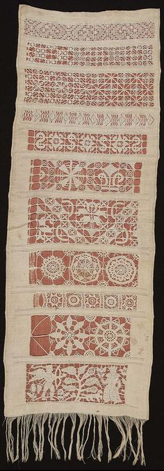 Unfinished whitework sampler, now backed with orange silk. Ground: colored linen. Design: ten horizontal bands of geometric ornament in drawn-work and cut-work, and one band at the bottom in punto in area with two figures in a landscape (Annunciation? Cupid pointing an arrow at a woman?). Stitches: double hem; cut work including buttonhole, buttonhole picot, knotted buttonhole. Similar design dated 1643 (Ashton, Samplers, fig. 9). Linen is fringed across bottom.