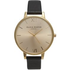 Olivia Burton Women's Big Dial Leather Strap Watch , Black/Gold (335 BRL) ❤ liked on Polyvore featuring jewelry, watches, accessories, oversized watches, gold watches, gold strap watches, yellow gold jewelry and water resistant watches