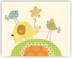 Baby Room Decor Nursery Art // Jungle Friends // Colors: Green and Yellow Nursery Decor // Animals - Nursery Elephant and Love Birds. $17.00, via Etsy.