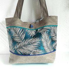 sac cabas femme en tissu plumes et suédine grise totebag bleu