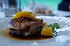 Cochinillo confitado con melocotón. Gastronomía de Cantabria en el stand de FITUR, del 30 de enero al 3 de febrero 2013. #Cantabria #Spain