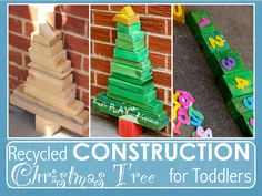 Recycled Construction Christmas Tree for Toddlers - by Kids Play Space - for Christmas and year long play!