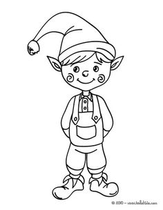 Beautiful Christmas Elf Coloring Page