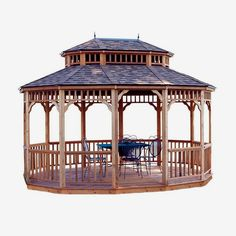 Monterey Oval Gazebo: we offer the very popular Monterey Oval Gazebo that is produced by Handy Home Products. This inviting and attractive gazebo provides ample space for backyard entertaining with friends and family. Constructed from tight-knot cedar, Gazebo Roof, Grill Gazebo, Hot Tub Gazebo, Gazebo Plans, Patio Roof, Shed Plans, Porch Plans, House Plans, Diy Pergola