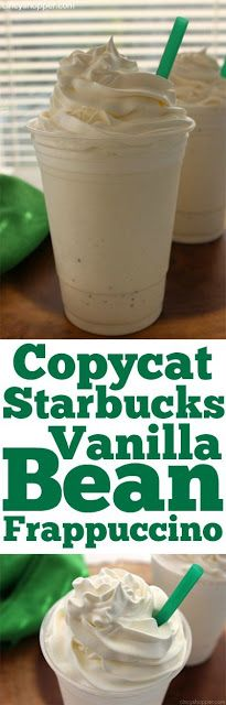 This is my copycat version of the popular Starbucks Vanilla Bean Frappuccino! Top each glass with whipped cream and drizzle additional vani...