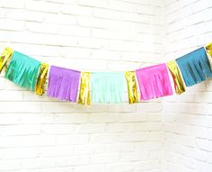 On the Fringe Garland Tissue Paper Garland Bunting by LePetiteFest Party Garland, Tassel Garland, Tassels, Tissue Paper Garlands, Paper Banners, Purple Dessert Tables, Fiestas Party, Purple Gold, Pink