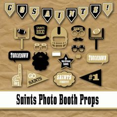 New Orleans Saints Football Photo Booth Props and Party Decorations, printable