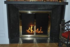Custom glass doors available in custom sizes, designs and finishes. Fireplace Gallery, Fireplace Design, Fireplace Glass Doors, Traditional Fireplace, Fireplace Accessories, Custom Glass, Custom Design, Contemporary, Antiques