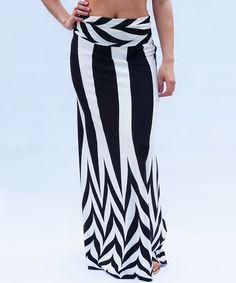 Magic Price Black & White Fold-Over Maxi Skirt | zulily