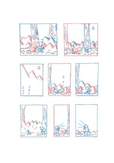 Sketches from Land of Lines, illustrated solely in red and blue ink.