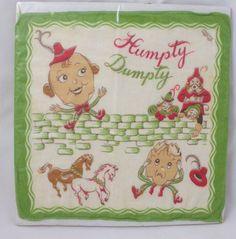 Amazing Vintage 1940's Humpty Dumpty Child's Handkerchief.  via Etsy.