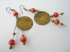 Vintage 90s Boho Hippie Brass and Wooden Bead Dangle Earrings by ThePaisleyUnicorn, $3.00