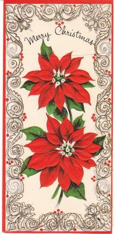 retro christmas poinsettia | Vintage Christmas Card Poinsettia Flowers ... | Christmas from days o ...