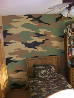 Accent wall for snow camouflage room for boys my for Camouflage wall mural