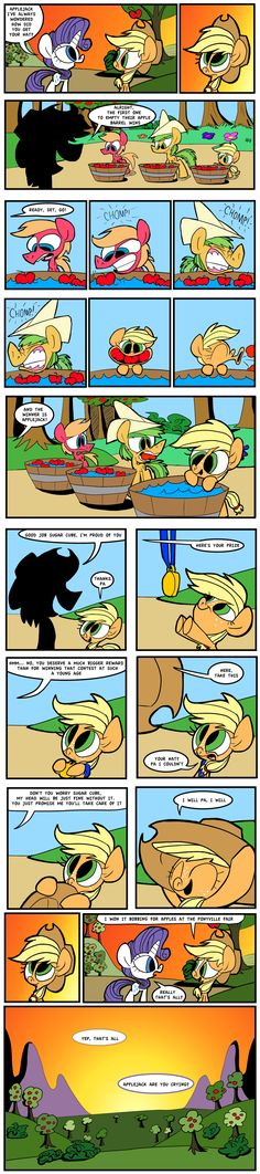 "Recently Hot Topic youtube channel released a video interview with Applejack where she revealed that she got her hat ""Bobbing for Apples at the Ponyville Fair,"" (See the full interview here: http://www.youtube.com/watch?v=uWcxeBCOst4 ) after seeing that video I decided to make a comic to expand on that a bit."