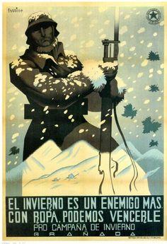 Autor: Parrilla. Editado en Valencia en 1938. Referencia obligada: La batalla de Teruel, en la que el invierno se hizo cargo de muchas bajas en ambos bandos.