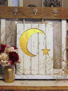 Distressed Wood Sign with Moon & Star, Nursery Sign, Gold Ivory Wood Decor, Nursery Wall Hanging, Rustic Farmhouse Gallery Wall Decor