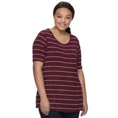 Juniors' Plus Size SO® Elbow Sleeve Tunic Tee, Teens, Size: 2XL, Dark Pink