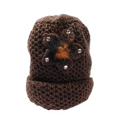 Knit Beanie with Flower Accent