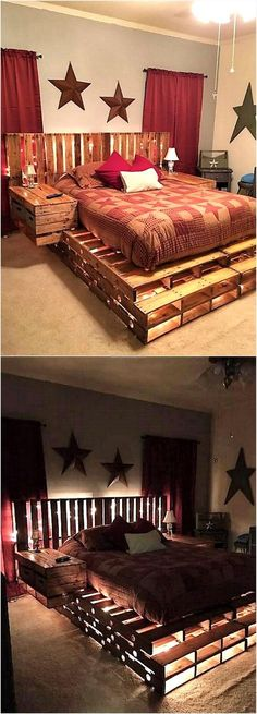 A person who loves to spend time creating innovative things can plan to make a pallet bed, it not only looks great because of unique idea; but is comfortable just like the other types of bed. Nothing else than the reclaimed shipping pallets are required t Diy Pallet Furniture, Diy Pallet Projects, Home Projects, Furniture Ideas, Furniture Design, Furniture Stores, Furniture Movers, Furniture Layout, Furniture Companies