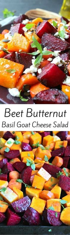 Roast Beet Butternut Basil Goat Cheese Salad Beet Butternut Squash Basil Goat Cheese Salad (minus cheese for whole Veggie Dishes, Vegetable Recipes, Vegetarian Recipes, Cooking Recipes, Healthy Recipes, Side Dishes, Cheese Recipes, Beet Salad Recipes, Vegetarian Cooking
