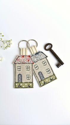 House Keyring, Name Keyrings, Personalised Keyrings, New Home Cards, Freehand Machine Embroidery, House Keys, Vintage Fabrics, Key Rings, Key Chain