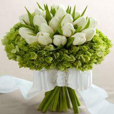 White and Light Green Flower Arrangement (white tulips and green hydrangeas)