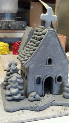 great little clay church would make lovely night light