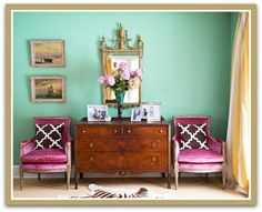 Radiant Orchid Chairs and Hemlock (Seafoam Green) Wall {via Jill Sorensen}