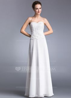 A-Line/Princess Sweetheart Floor-Length Chiffon Prom Dress With Lace Beading Sequins (017041025) - JJsHouse