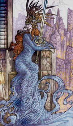 La reine d'épées - Universal Fantasy Tarot par Paolo Martinello