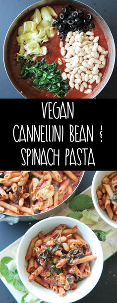 Cannellini Bean & Spinach Pasta (Vegan + Gluten Free) - A quick and delicious pasta that's loaded with spinach artichokes and beans for added protein.