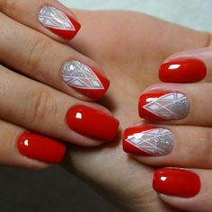 Red nails with white artsy accent nails Fancy Nails, Love Nails, Red Nails, Pretty Nails, Pink Nail, Gel Nail Art, Acrylic Nails, Gel Nagel Design, Nagel Gel