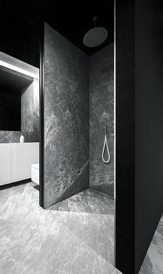 Cloudy shades of gray make for a mysterious interior in this single family home in Poland from Tamizo Architects. Beautiful Bathrooms, Modern Bathroom, Bathroom Marble, Modern Shower, Tamizo Architects, Design Oriental, Scandinavian Bathroom, Bathroom Toilets, Washroom