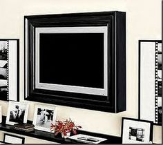 Full of Great Ideas: Picture perfect TV - Flat Screen TV Frame loveit Tv Decor, Diy Home Decor, Room Decor, Lounge Design, Tv Enmarcada, Big Screen Tv, Flat Screen, Perfect Tv, Framed Tv