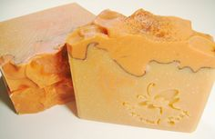 Orange citrine layer soap with peaked tops and butterfly stamp by Petals BB