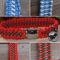 Holiday Paracord Dog Collars with bell or charm by CraftsForK9s