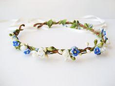 Flower crown, Blue wedding hair accessories, Bridal headpiece, Floral headband, Wreath - DEWDROP by NoonOnTheMoon on Etsy https://www.etsy.com/listing/182240148/flower-crown-blue-wedding-hair