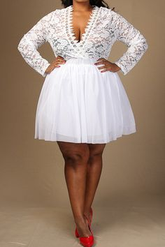 +Size Lace V Neck Flare Tulle Dress in Black or White