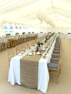 My Wedding!! Marquee, Hessian Table Runners, Large rectangular planters, Roses, Lavender, Large round Balloons……..