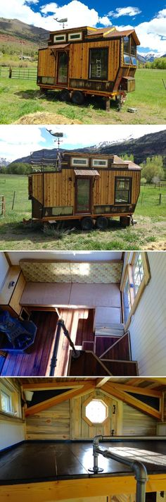 This one-of-a-kind tiny house was built by Jeremy Matlock in Ridgway, Colorado. The rooftop balcony give it the appearance of a ship deck while the cedar siding and finishes give it a rustic cabin feel. Tiny House Cabin, Tiny House Living, Tiny House Plans, Tiny House On Wheels, Compact House, Micro House, Studio Decor, Cabins And Cottages, Tiny Spaces