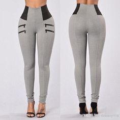 Nuevas mujeres calientes de la moda Leggings Pant cintura alta pantalones  elásticos apretados cremallera costura pantalones 7f209f4a6b2e
