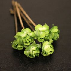 Enchantment Rose Bridal Hair Accessories - Green Tea Paper Flower Brass Bobby Pin